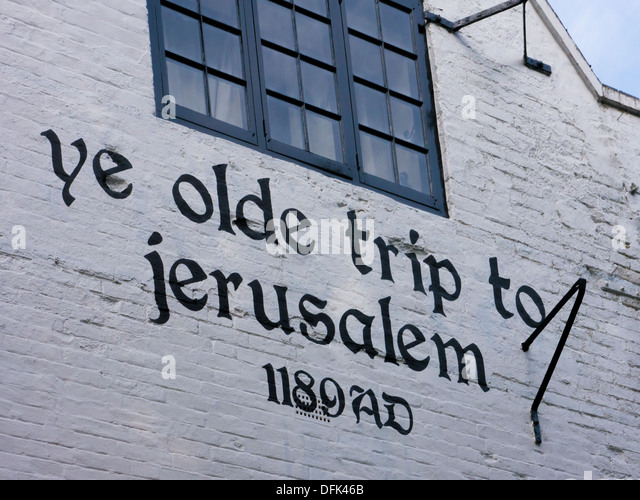 Ye Olde Trip To Jerusalem Pub in Nottingham UK. This is one of the oldest pubs in the country. - Stock Image