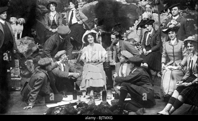 Performance of 'The Gay Gordons', c1907. - Stock Image