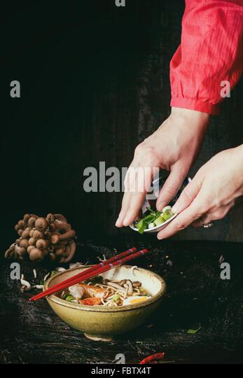Asian soup ramen ready to eat - Stock Image