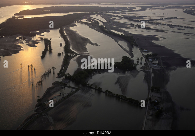 Flood farm land near Finley, Tennessee - Stock Image