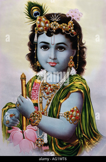 Krishna, indian God, eigth incarnation of Vishnu, portrait, painting, 20th century, India, art, religion, hinduism, - Stock Image