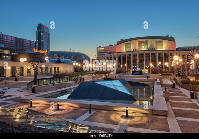Salle Wilfried Pelletier and Esplanade of Place Des Arts, Quartier des Spectacles, Downtown Montreal, Quebec, Canada - Stock Image