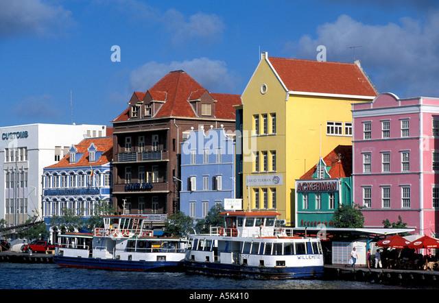 Curacao Willemstad harbor scenic Punda side national symbol iconic image - Stock Image