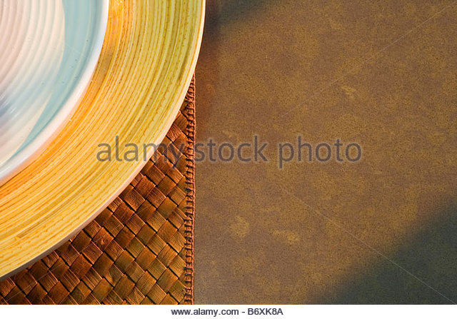 Abstract detail of place setting on countertop - Stock Image