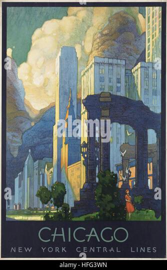 Vintage Travel Poster - Chicago - Stock Image