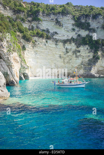 boat trip in antipaxos island in greece - Stock Image