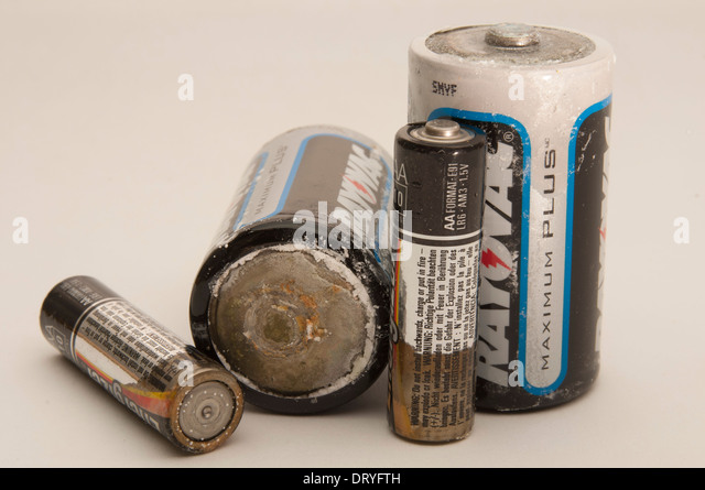 Corroded batteries - Stock Image