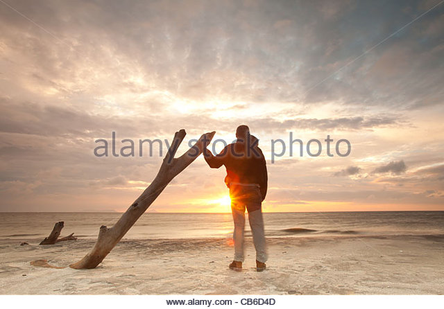 Daybreak at Punta Chame on the Pacific coast, Panama province, Republic of Panama. - Stock Image