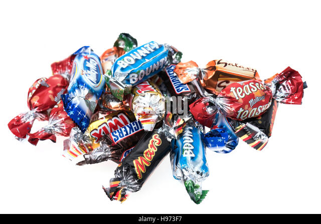 An assortment of Mars Celebrations mini chocolate bars - Stock Image