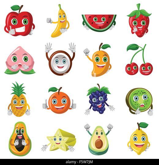 Set of fruits objects and letters tropical healthy eating food - Papaya Avocado Banana Stock Photos Amp Papaya Avocado Banana