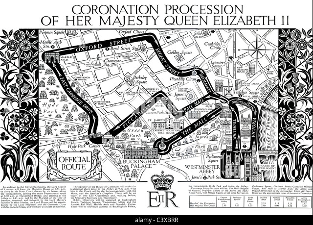 Map of the Coronation Procession of Her Majesty Queen Elizabeth II, from souvenir programme Published by HMSO London - Stock-Bilder
