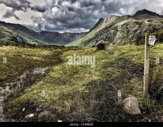 The Langdales in the Lake District - Stock Image