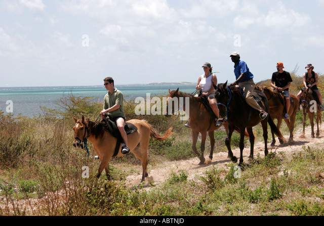 Grand Turk Atlantic Ocean Indigenous Horse Shelter horseback riding trail - Stock Image