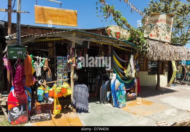 Tourist goods shop in the centre of this laid-back village & resort, Samara, Guanacaste Province, Nicoya Peninsula, - Stock Image