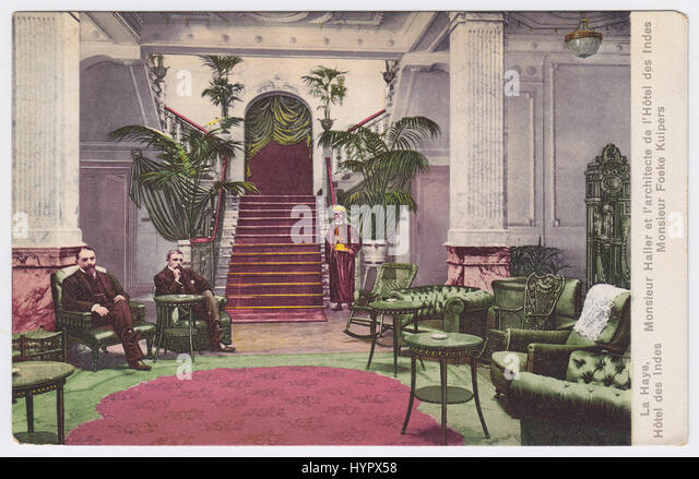 Hotel Des Indes, The Hague, Netherlands, Grand Hall, Mr Haller and architect of the Hotel Des Indes, Mr Foeke Kuipers - Stock Image