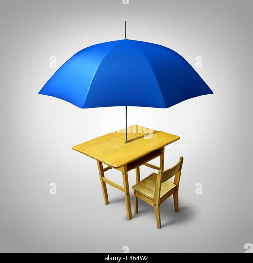 Education protection and teaching shelter for literacy and learning as a generic school desk with an umbrella as - Stock Image