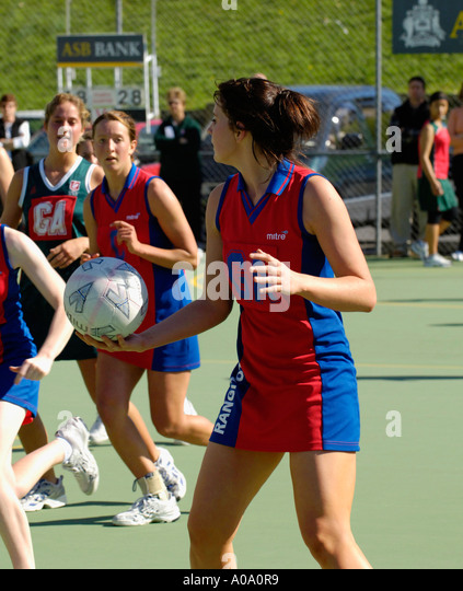 female college netball match - Stock Image