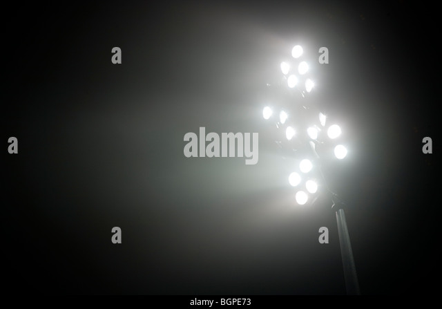 Stadium lights at night - Stock-Bilder