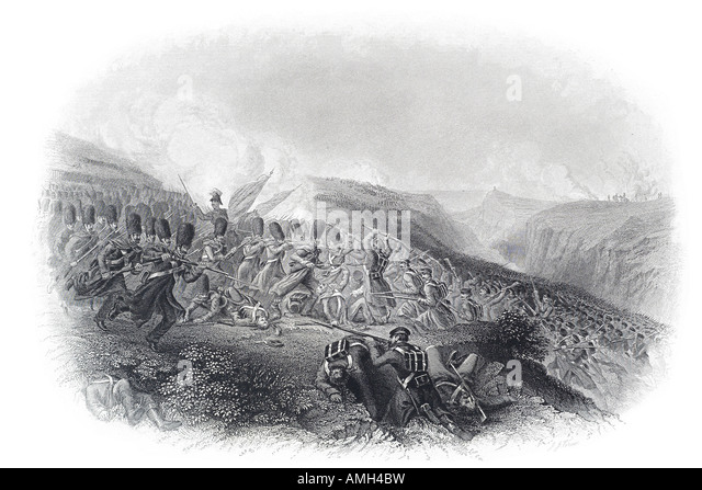 Battle Inkermann 1854 Charge Guard Crimean War British French victory General Pierre Bosquet Russian forces General - Stock Image