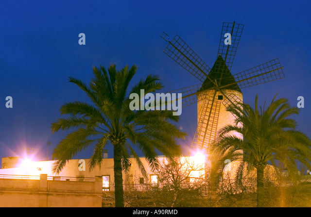 Palma de Mallorca wind mills at night - Stock Image