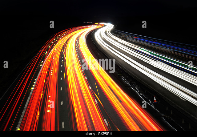 abstract traffic trails on M25 motorway, Kent, England, Uk, Europe - Stock Image