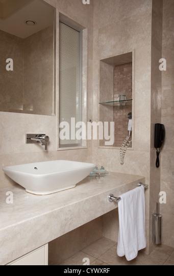 hotel room bathroom - Stock Image