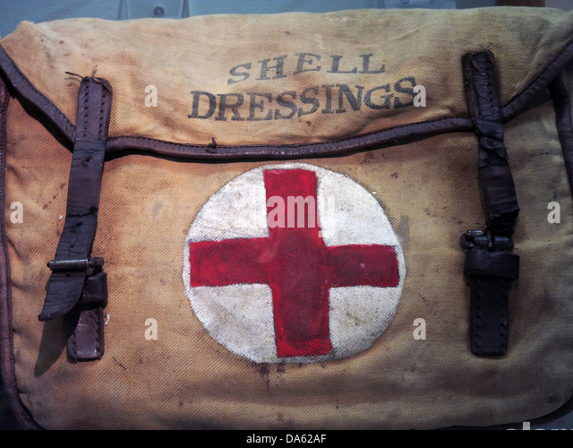 World War 1 Shell dressings bag with a red cross on a white background - Stock Image