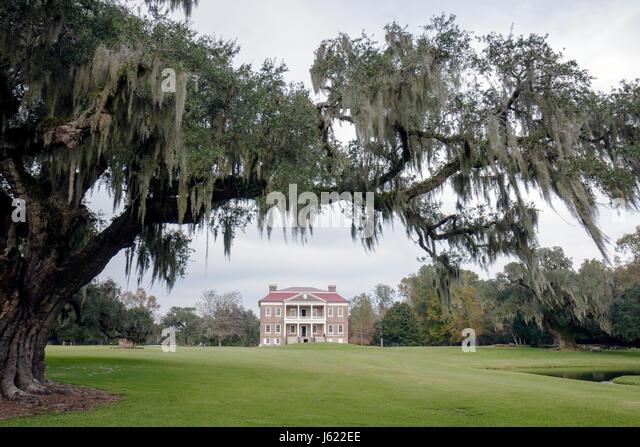 Charleston South Carolina Lowcountry Ashley River Road Drayton Hall National Historic Landmark plantation Georgian - Stock Image