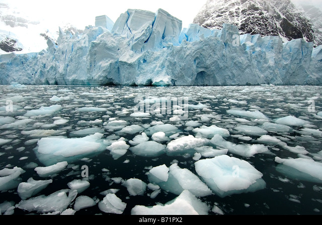 Antartica glaciar, remote place, wild place, cold, ice, snow, ice blocks - Stock Image