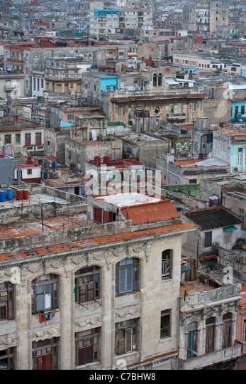 View over the rooftops of the old town, City of Havana, Havana, Cuba - Stock Image