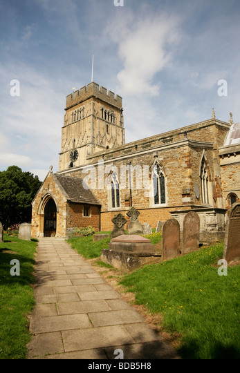 Earls Barton Church with circa 10th Century late Saxon Tower Northamptonshire - Stock-Bilder