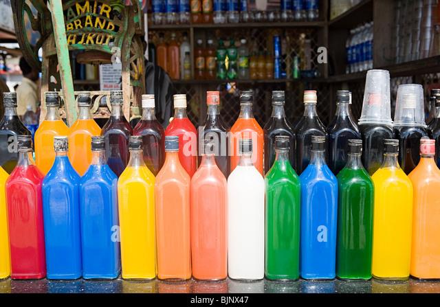 Bottles of drink on a bar - Stock-Bilder
