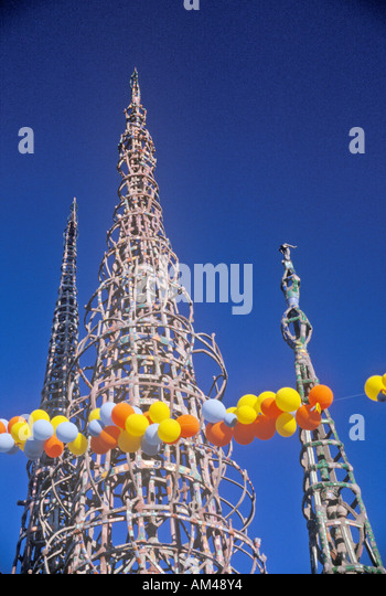 Watts Towers 20th Anniversary of the 1965 riots Los Angeles California - Stock Image