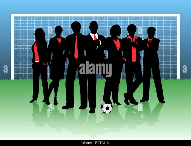 Illustration of a business team on a soccer pitch - Stock-Bilder