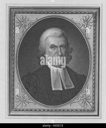 Engraved portrait of John Witherspoon, minister and university president who signed the Declaration of Independence, - Stock Image