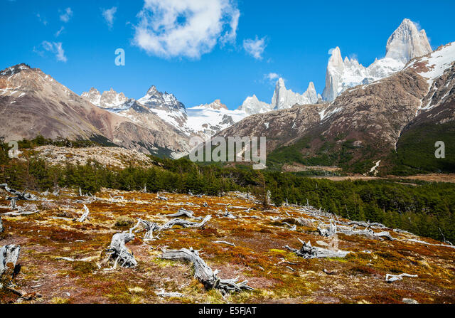 Fitz Roy mountain range, Andes in Patagonia, Argentina - Stock Image
