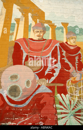 Tarpon Springs Florida Painting of traditional Greek sponge divers - Stock Image