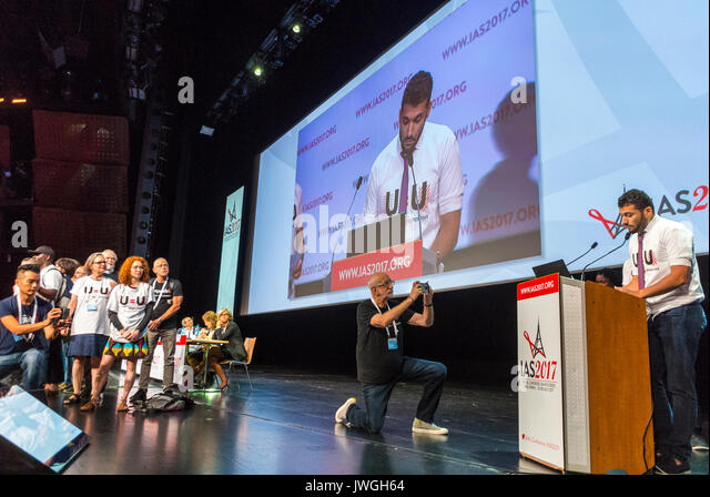 Paris, France, International AIDS Society I.A.S. Conference, 2017, AIDS Activists Taking Stage to Communicate on - Stock Image