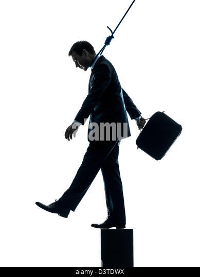 one  man business man suicidal hanging in silhouette studio isolated on white background - Stock Image