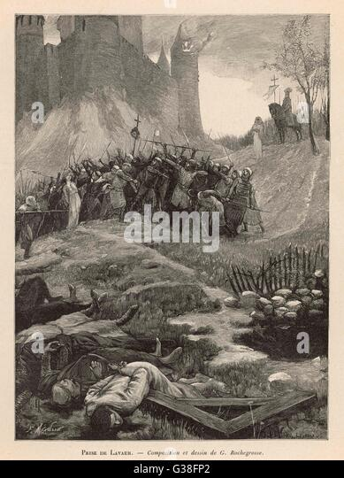 ALBIGENSIAN CRUSADE Regarded by Catholics as the  stronghold of Satan, the town  of Lavaur is sacked by  'crusaders' - Stock-Bilder