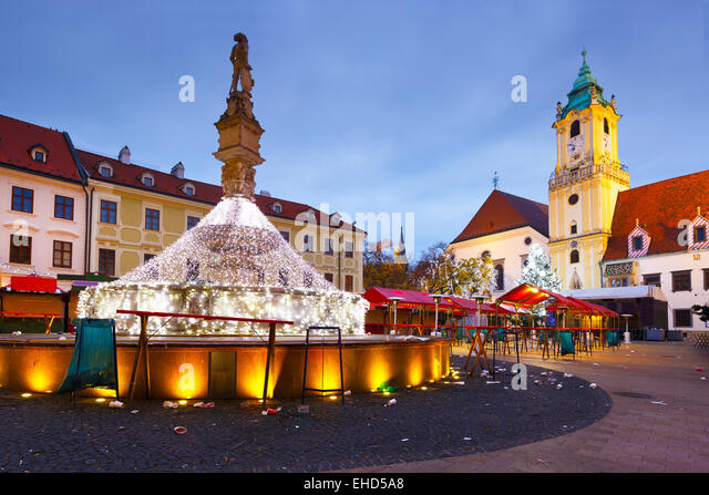 View of the main square in Bratislava, Slovakia. - Stock Image
