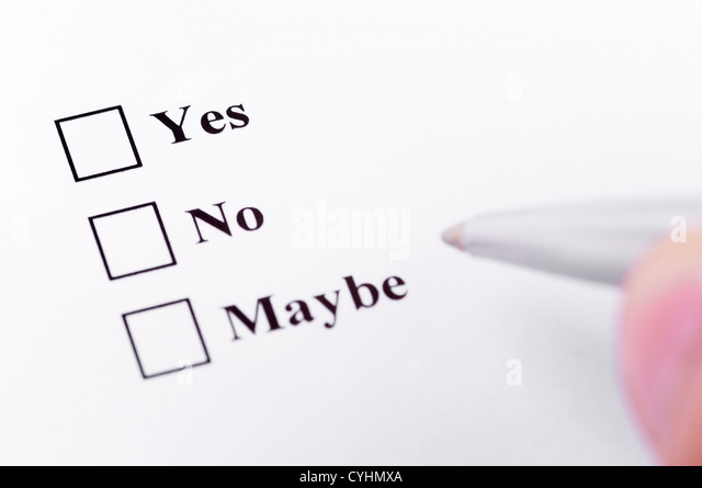 Making your decision. About to choose between yes, no, maybe. - Stock Image