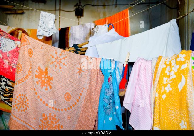 Laundry waits to get dry - Stock-Bilder