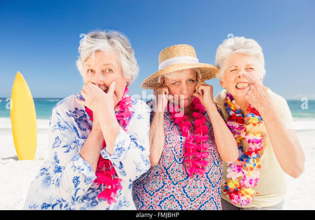 Senior woman doing grimace - Stock Image