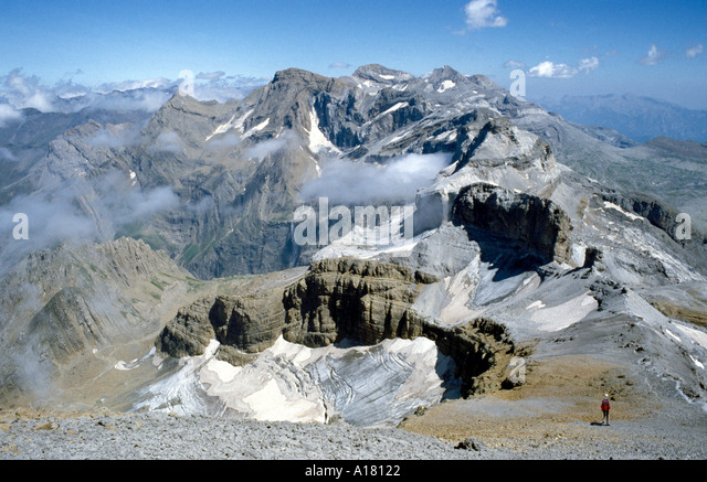 The Haute Pyrenees above the Cirque de Gavarnie, from Le Taillon, Pyrenees.  On the frontier ridge between France - Stock Image