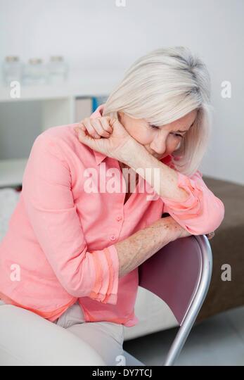 Depressed elderly person - Stock Image