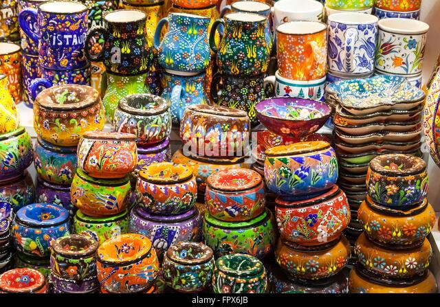 Classical turkish ceramics on the bazaar istanbul stock photo - Turkish Ceramics Stock Photos Amp Turkish Ceramics Stock