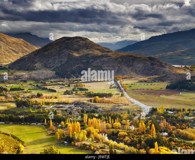 Autumn landscape, near Queenstown, New Zealand - Stock Image
