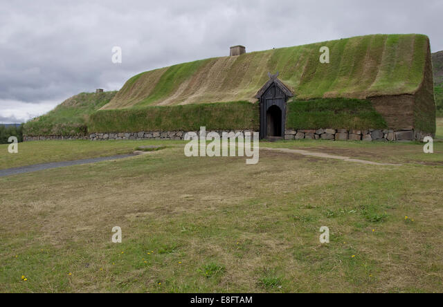 Viking house at Pjodveldisbear - Stock Image