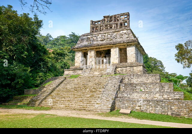 Temple of the Sun, ancient Maya city of Palenque, Chiapas, Mexico - Stock Image